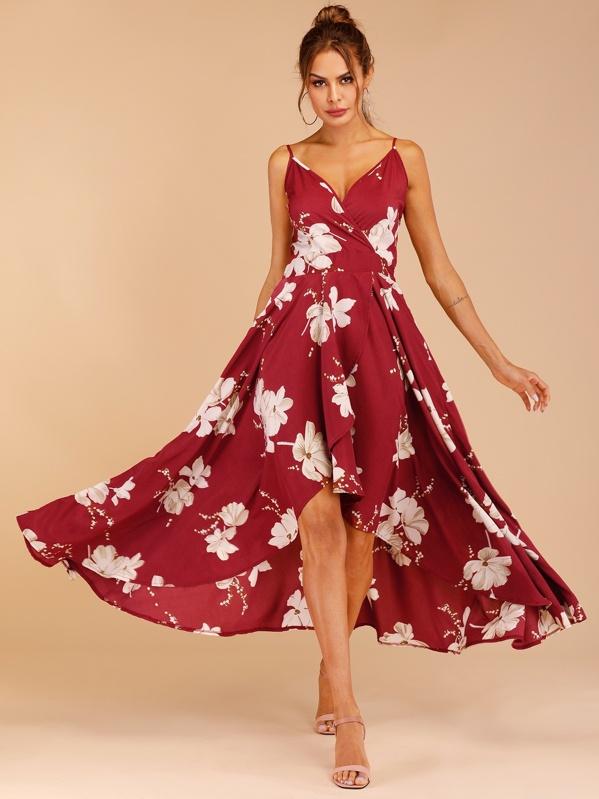 c28efc9d Floral Print Tulip Hem Wrap Cami Dress | SHEIN UK