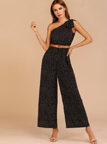 Polka Dot Oblique Shoulder Jumpsuit