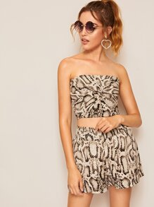 Snakeskin Print Twist Front Shirred Tube Top With Shorts