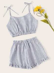 Striped Crop Cami Top With Shorts