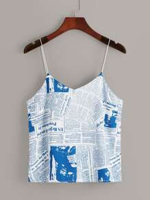 Newspaper Print Cami Top
