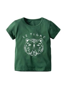 Toddler Boys Tiger Face & Letter Print Tee