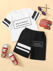 Toddler Boys Slogan Print Varsity Striped Tee With Shorts
