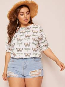 Plus Butterfly Print Frill Trim Blouse