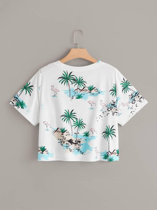 6794dfb976 Cheap Plus Flamingo & Coconut Trees Print Tee for sale Australia | SHEIN