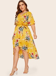 Plus Surplice Front Floral Print Dip Hem Dress