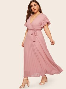 Plus Surplice Front Pleated Dress