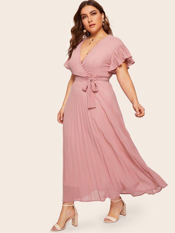 Plus Surplice Front Pleated Dress | SHEIN