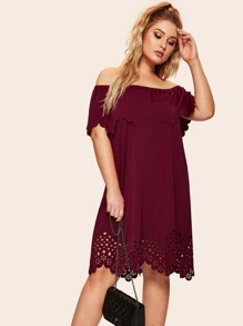 Plus Laser Cut Scallop Trim Off Shoulder Dress