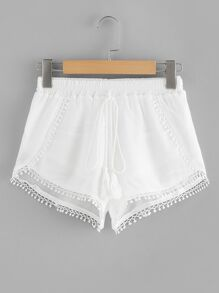 Plus Contrast Lace Tassel Knot Shorts