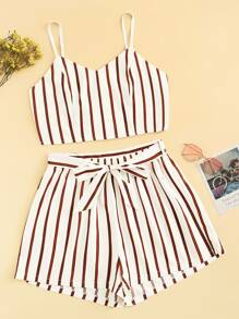 Plus Striped Cami Top With Belted Shorts