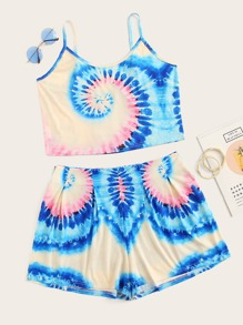 Plus Tie Dye Cami Top With Shorts