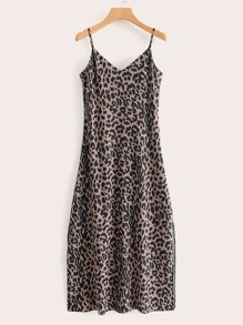 Leopard Print Slit Hem Slip Dress
