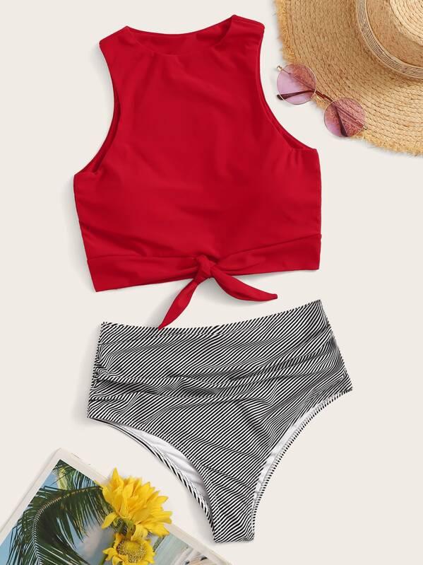 f3dc1363b6 Knot Hem Top With Ruched High Waist Bikini Set | SHEIN