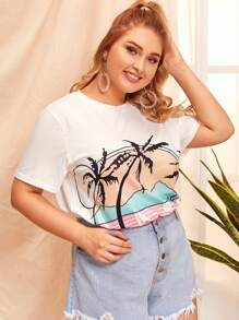 Plus Coconut Tree Print Tee