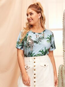 Plus Coconut Tree & Animal Print Tee