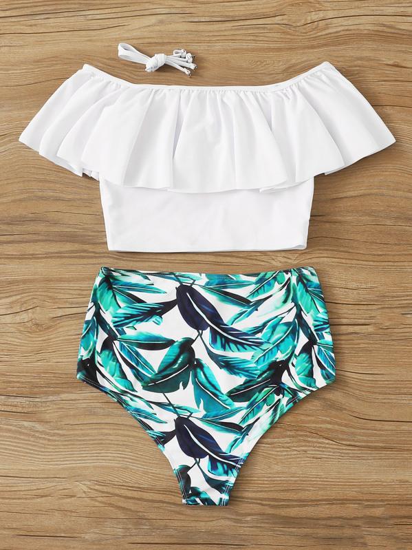 1b3ce38e67 Flounce Off Shoulder Top With Random Leaf Bikini | SHEIN
