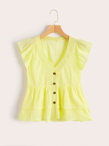 Schiffy Button Front Layer Ruffle Hem Blouse