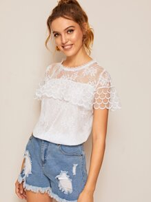 Lace Ruffle Trim Blouse
