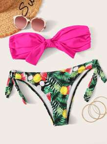 Neon Hot Pink Ruched Bandeau With Tropical Bikini