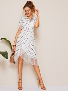 Surplice Polka Dot Mesh Panel Dress