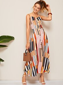 Striped Shirred Back Button Front Cami Dress