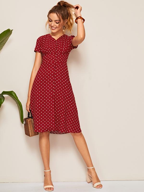 7bef710fb0af4 Polka Dot Button Front Shirred Waist Dress