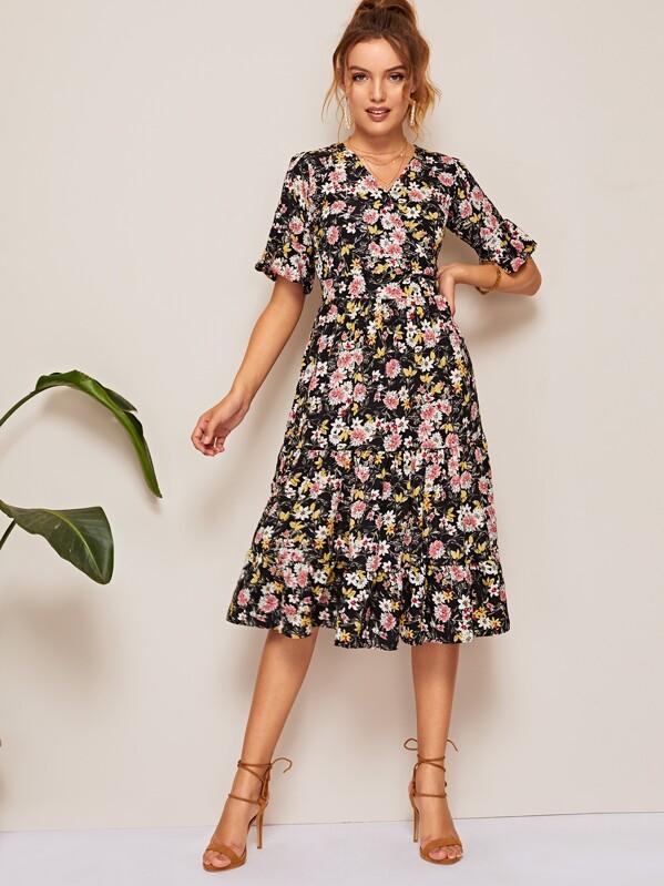 db9138f32da Ditsy Floral Flounce Sleeve Ruffle Hem Dress