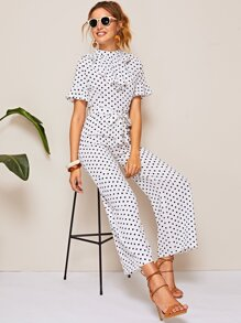 Polka Dot Contrast Ruffle Neck Belted Jumpsuit