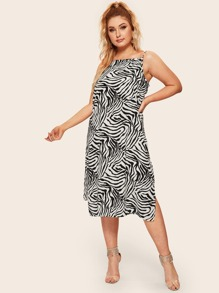 Plus Zebra Print Split Cami Dress