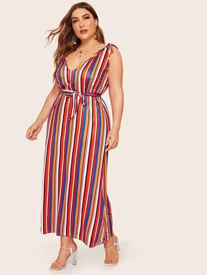 cc871ed4770 Размер плюс полосатое платье на бретелях с поясом