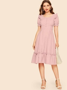 Puff Sleeve Covered Button Detail Frill Dress