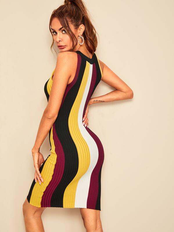782c5f7ac97 Colorblock Rib-knit Halter Pencil Dress