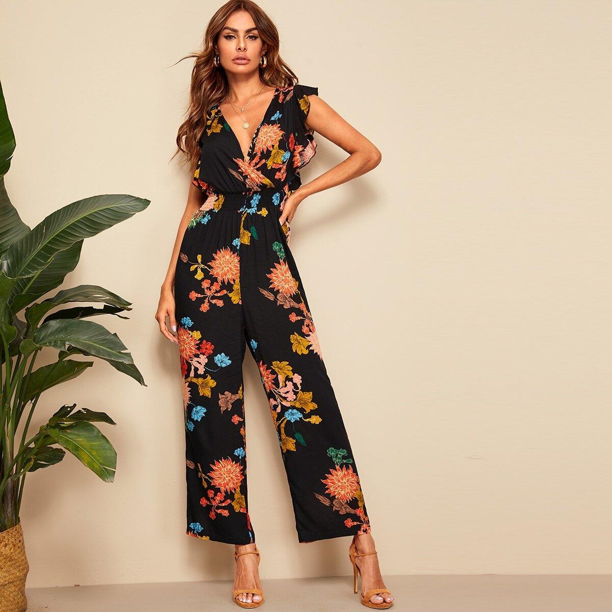 SHEIN coupon: Floral Print Ruffle Trim Surplice Jumpsuit