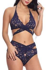 Cut-out Floral Lace Lingerie Set