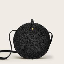 Braided Round Crossbody Bag