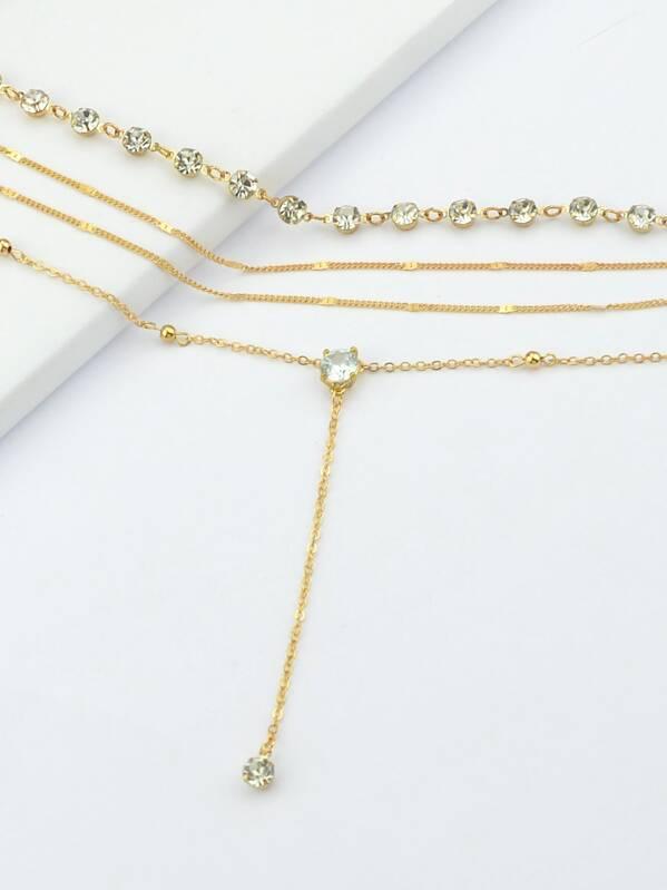 d59d319f00 Gold Simple Diamond Pendant Multi-Layer Necklace | SHEIN