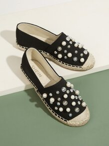 Faux Pearl Decor Flats Cap Toe Flats