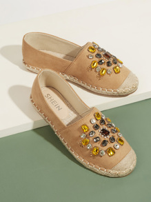 Gemstone Decor Cap Toe Flats