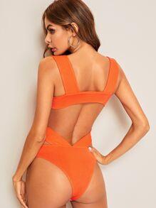 e6fafd51c10 Neon Orange Open Back Thick Strap Bodysuit