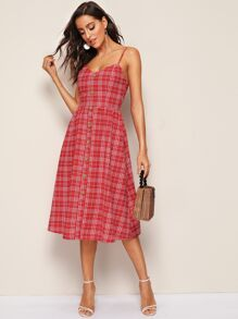 Plaid Button Front Slip Flare Dress