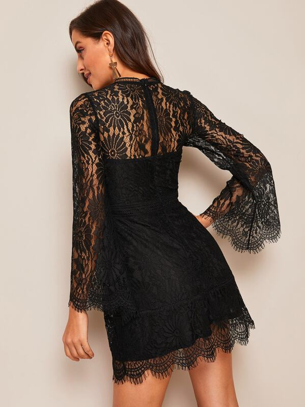 9c05cefd7e1529 Trumpet Sleeve Floral Lace Overlay Dress | SHEIN