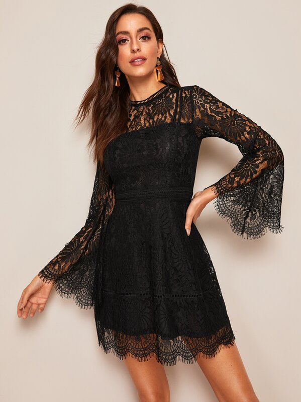 6236bc8a58 Cheap Trumpet Sleeve Floral Lace Overlay Dress for sale Australia ...