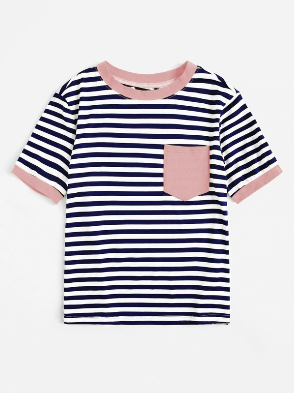 364086a0d1 Pocket Patched Striped Ringer T-shirt