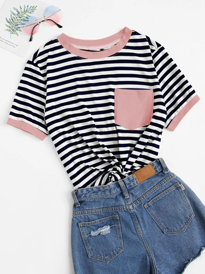 5eb2dcd6e65 Pocket Patched Striped Ringer T-shirt