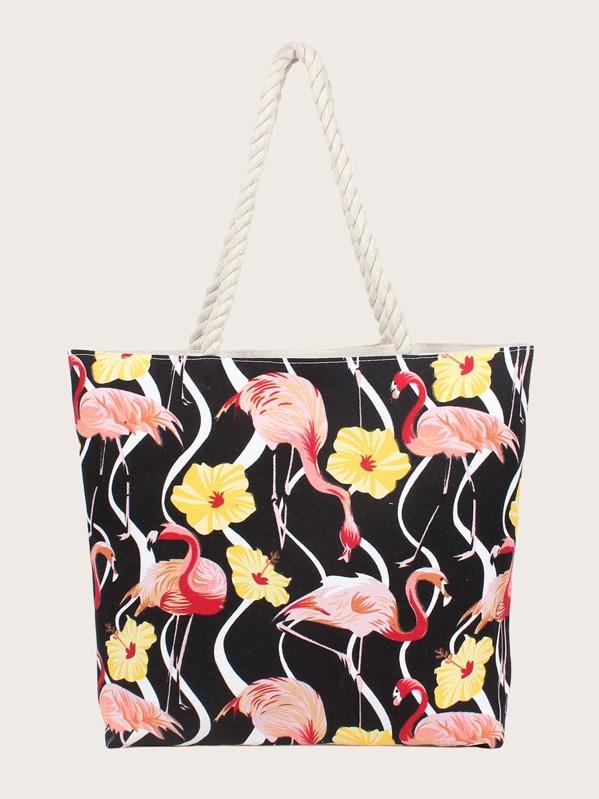 383f4da317 Flamingo Print Canvas Tote Bag | SHEIN UK