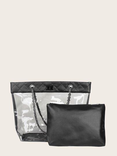 462fa6d7596c5 حقيبة حمل شفاف مع محفظة داخلية