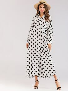 Polka Dot Button Front Pocket Detail Dress