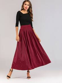 Satin Pearls Trim Flared Skirt