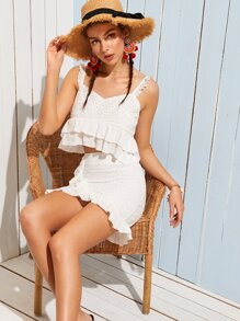 Eyelet Embroidery Ruffle Hem Cami Top With Wrap Skirt